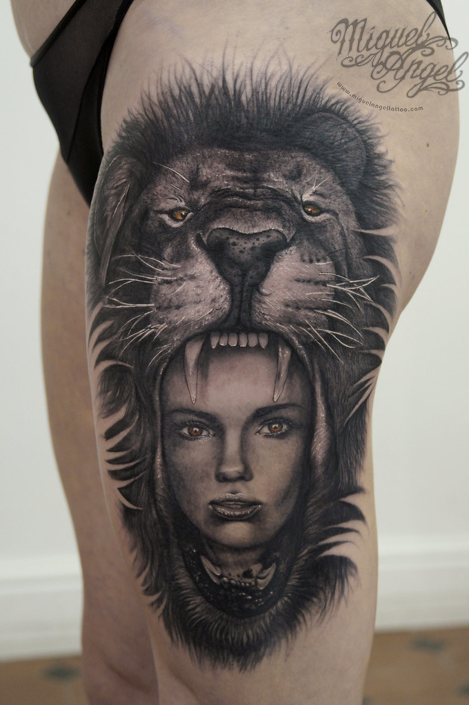 Lions Head And Woman Tattoo Miguel Angel Custom Tattoo Ar Flickr
