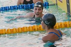 Missy Franklin with Elizabeth Pelton after 200m freestyle