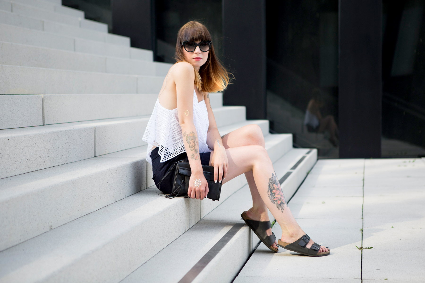 outfit zara crochet top dark navy shorts fashion week berlin ss 2016 ootd lookbook styling minimal rebecca minkoff birkenstock prada ricarda schernus cats & dogs blog 3