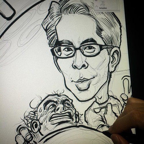 Inking over the pencil sketch.....