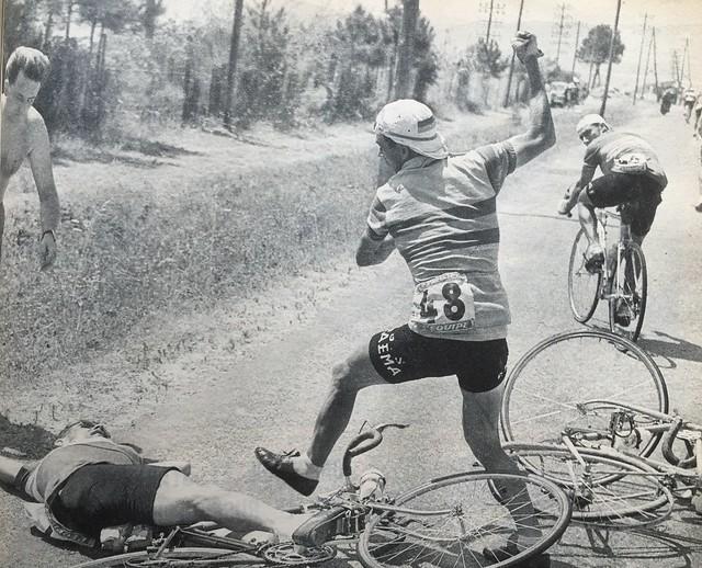 Post crash altercation 1957 Tour de France