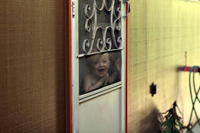 leo at the screen door