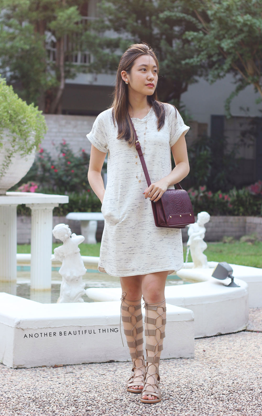Marble print dress and Zara lace up gladiator sandals