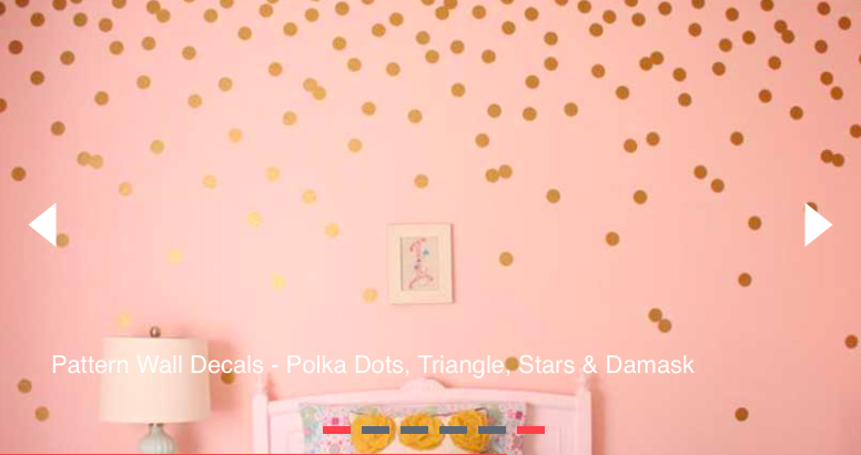 Happy Wallz Gold polka dots on pink wall vinyl stickers