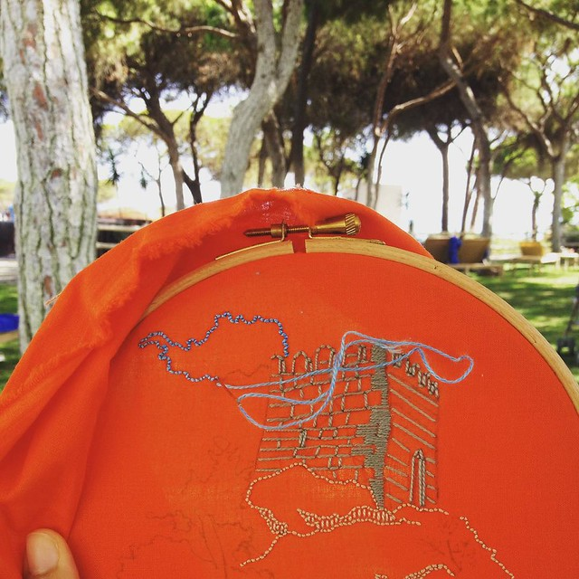 Embroidering in the wild, or the joys of being on vacation. #airembroideryclub