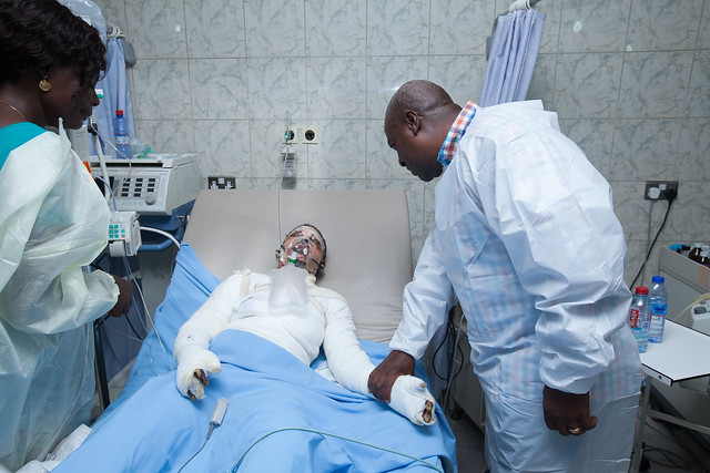 President John Mahama at the 37 Military Hospital to visit and console victims of yesterday's Gas explosion that occurred near the Trade Fair site