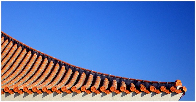 THE NEW YEAR MORNING SUN ON AN OKINAWAN ROOF