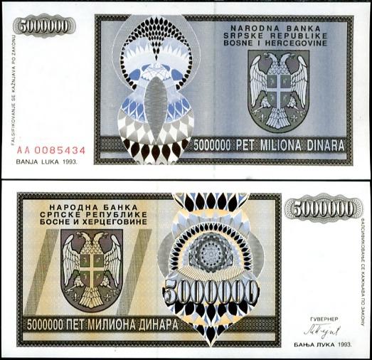 5 milónov dinárov Bosna a Hercegovina 1993