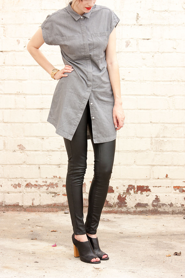 Everlane Shirtdress, Leather Leggings, Jord Watch, Minimalist Style