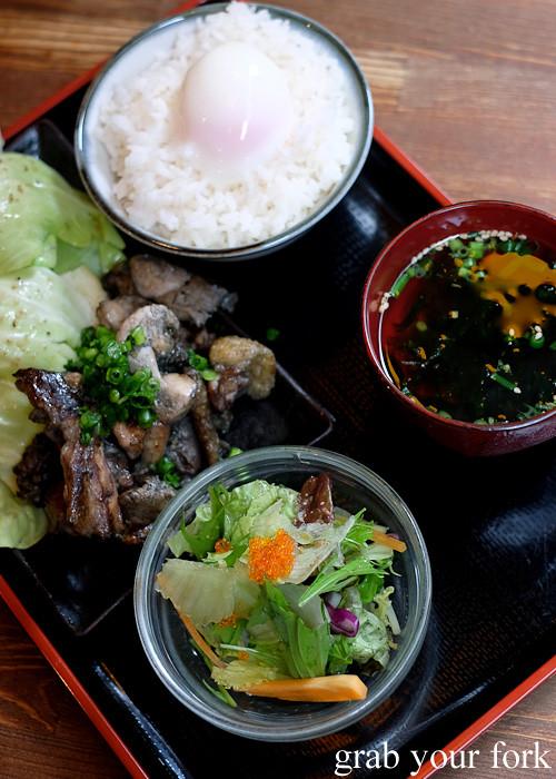 Black satsuma chicken lunch set at Tagiruba Grill in Kagomma Furusato Yataimura, Kagoshima