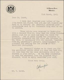Churchill portrait [correspondence - Prime Minister, England] / Churchill portrait [correspondance - premier ministre, Angleterre]