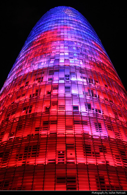 Torre Agbar @ Night, Barcelona, Spain