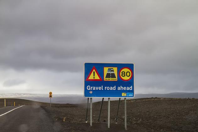 Gravel Road Sign Iceland