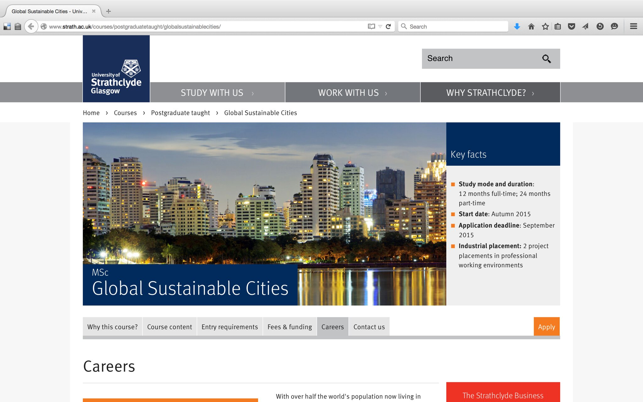 Lectureship at the MSc Master in Global Sustainable Cities