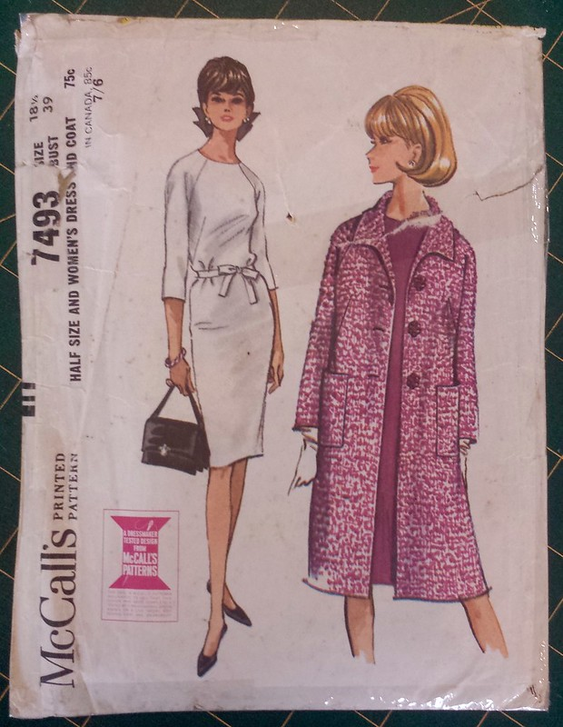 2015 Frocktails outfit - Burda 02 2015 No 129 dress and vintage 1965 McCalls 7493 coat in fabrics from Darn Cheap Fabrics