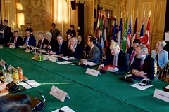 U.S. Secretary of State John Kerry sits with French Foreign Minister Jean-Marc Ayrault and their counterparts on December 10, 2016, at the Quai d'Orsay - the French Foreign Ministry - in Paris, France, before a multinational meeting focused on Syria. [State Department Photo/ Public Domain]