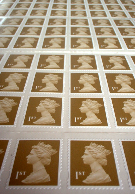 100 first-class stamps | You can't see them all in this phot