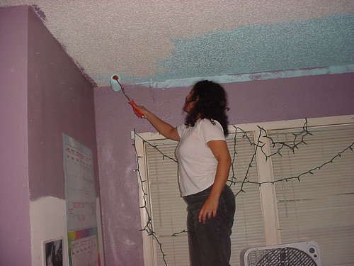 painting a ceiling blue with a roller