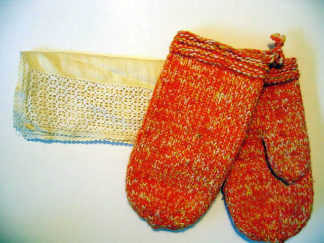 Lace thing and orange mittens