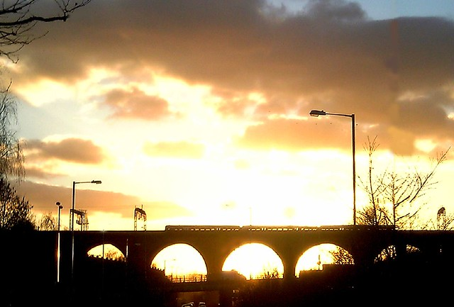 Stockport Viaduct at sunset