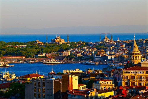 Sunset view of the Hagia Sophia, the Blue Mosque, and the Galata Tower from the rooftop bar at Mikla at The Marmara Pera