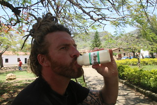 Drinking Goats Milk. Guane, Colombia.