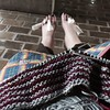 Knitting on Lilli Pilli shawl at the end of a spa day