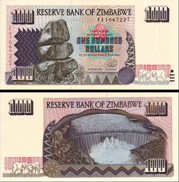 100 Dolárov Zimbabwe 1995, Pick 9a