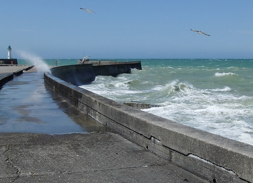 Salt spray and seagulls at windy Fecamp, on the Normandy Coast of France