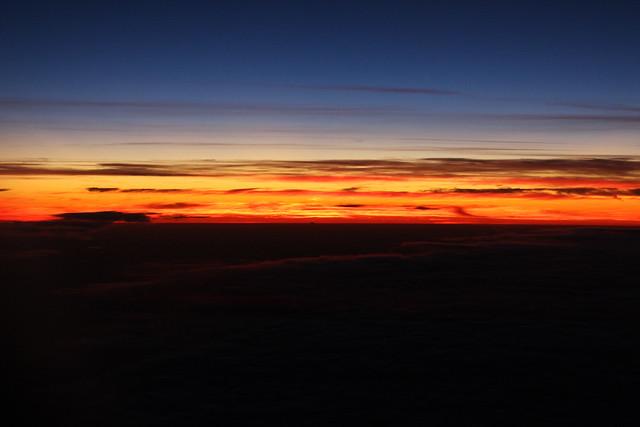 coucher de soleil vue d'avion
