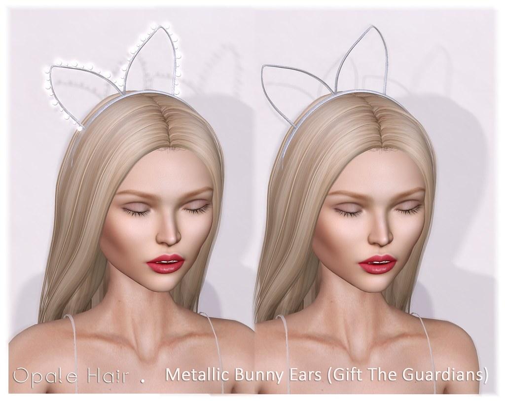 Opale Hair . Gifts 2 Metallic Bunny Ears . January 2017 - SecondLifeHub.com