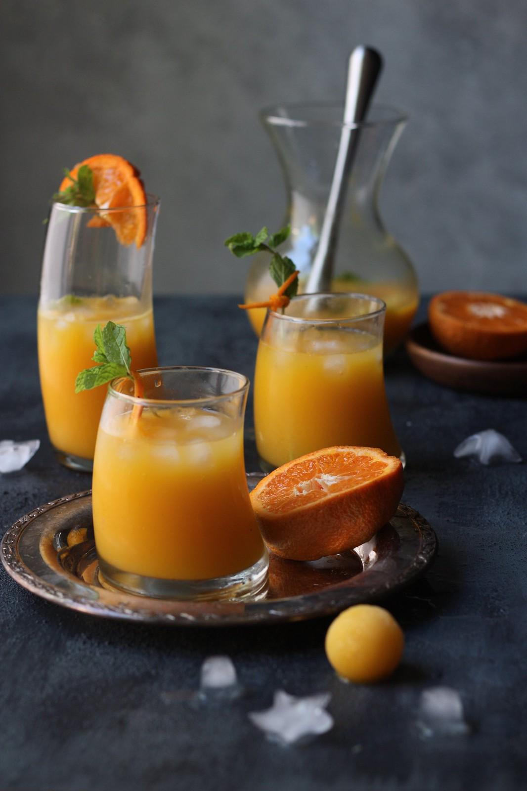 Mango-Orange Fizz with Mint-Cardamom and Lemon