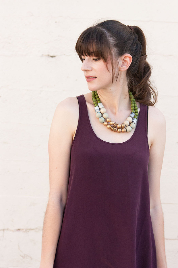 Everlane Silk Dress, History and Industry Necklace, Silk Sleeveless Dress