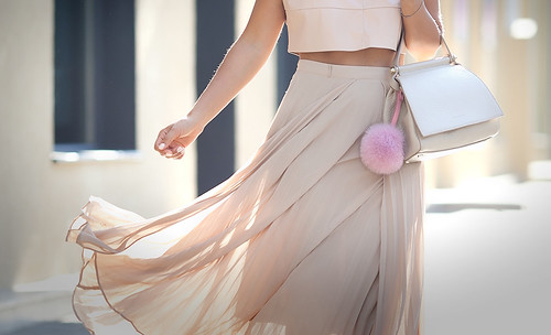 coccinelle-beige-tote-withnude-pleated-skirt