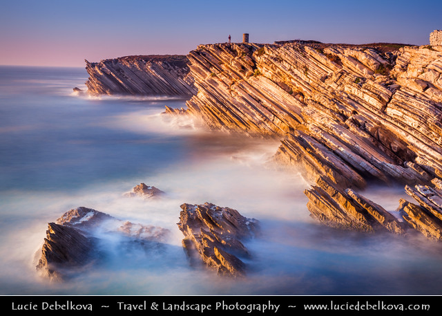 Portugal - Peniche - Unusual Limestone Cliffs at Baleal Peninsula during late evening light
