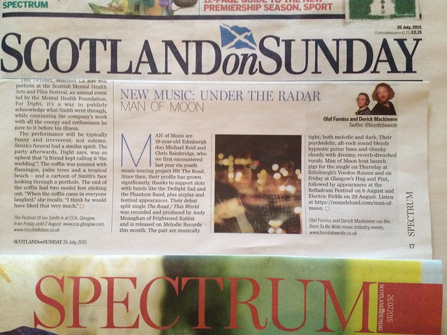 Olaf Furniss and Derick Mackinnon Scotland On Sunday, Spectrum Magazine 26 July 2015, Man Of Moon