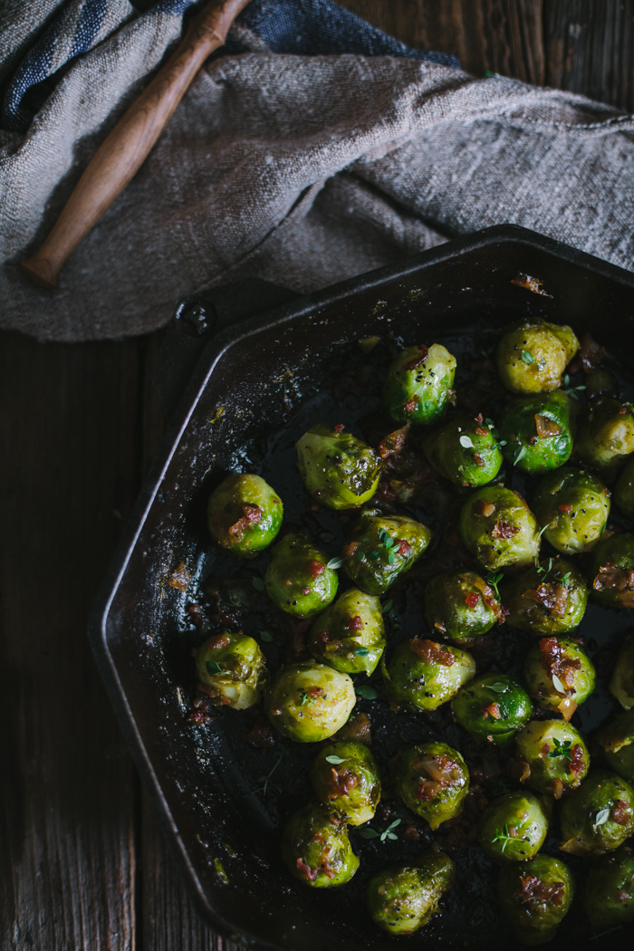 Sherry Brussels Sprouts with Bacon, Caramelized Onions, & Fresh Thyme ...