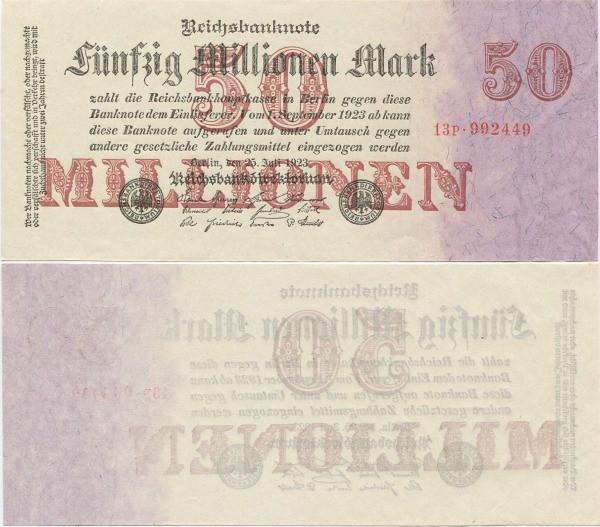 50 000 000 nemeckých mariek Nemecko 1923, Pick 98