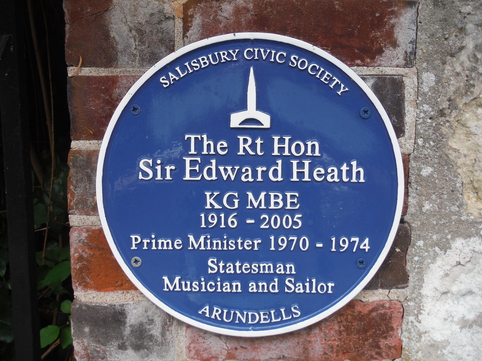 Plaque for Sir Edward Heath SWC Walk 254 Salisbury Circular