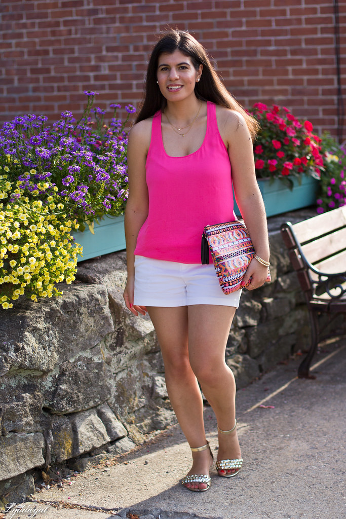 pink tank, white shorts, aztec sequin clutch-9.jpg