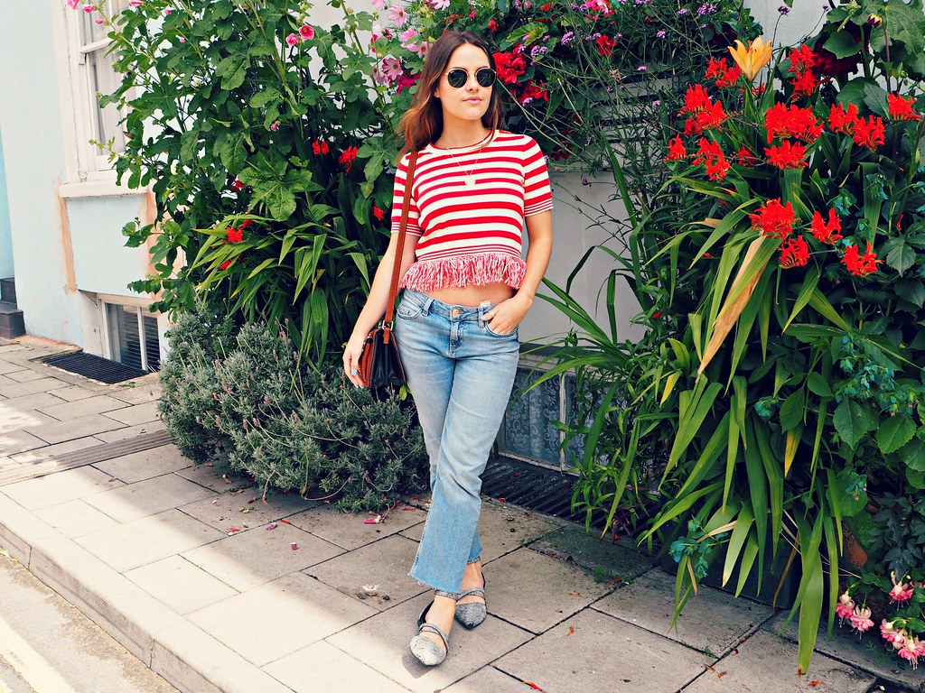 Topshop stripe tassel top 1