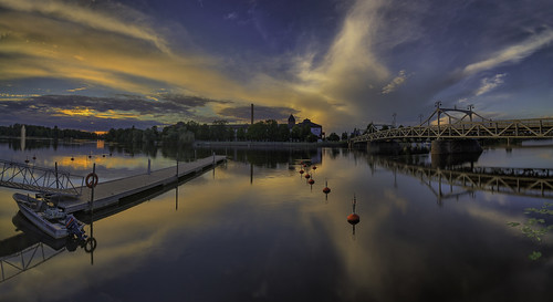 street bridge sunset summer panorama reflection water horizontal architecture clouds buildings suomi finland landscape outdoors photography boat dock europe cityscape waterlily scenic jazz panoramic nordic scandinavia dramaticsky charlotta pori cottonfactory silta porijazz puuvilla porin puuvillatehdas porinsilta milamai
