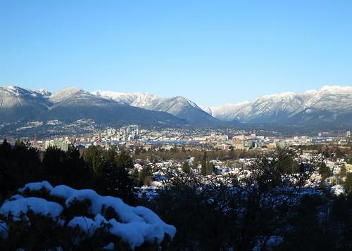 Snowy Vancouver from Queen Elizabeth Park