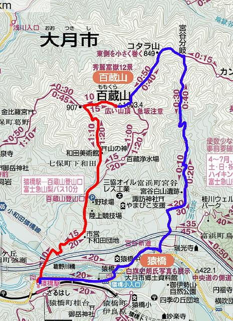 百蔵山地図