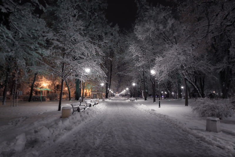 Snowy night in Plovdiv