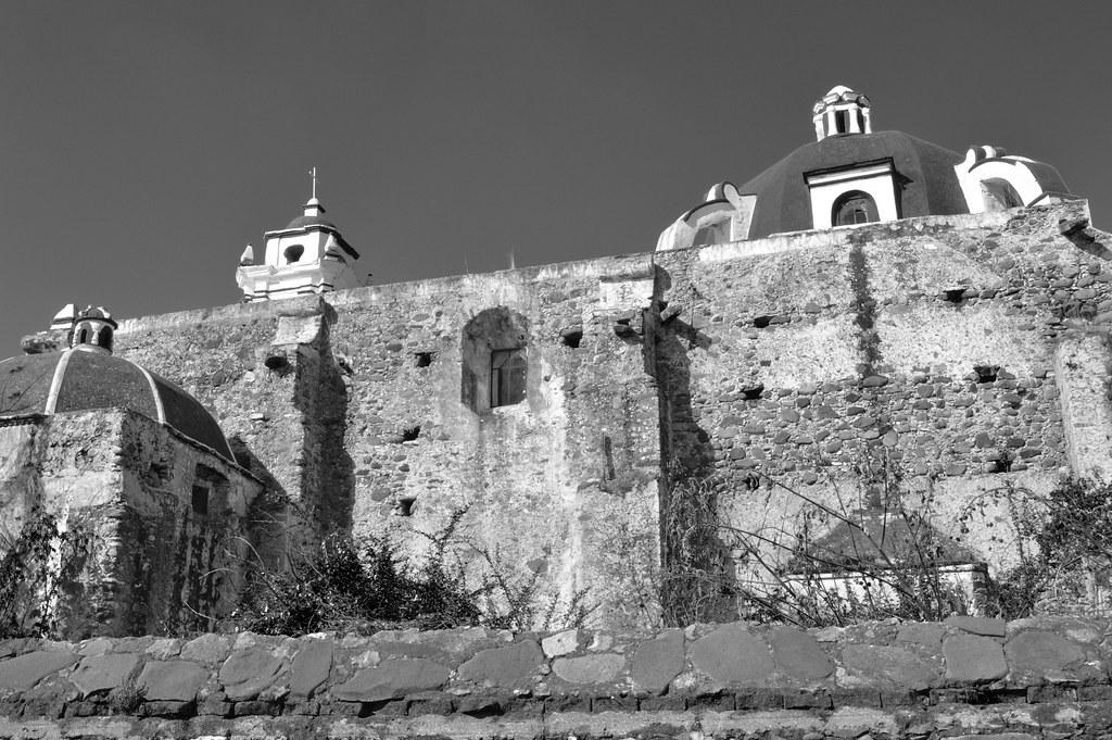 Antigua iglesia de san agustin en tepexco puebla mexico black and white
