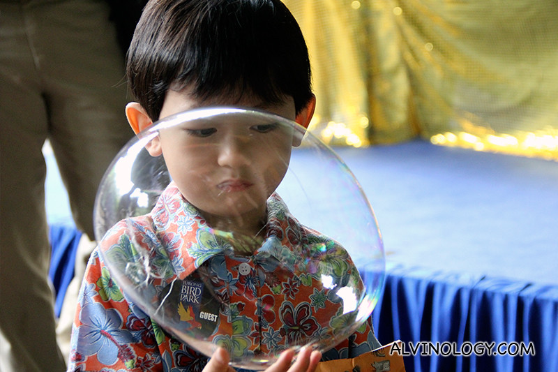 Asher with his bubble balloon blown by his grandma