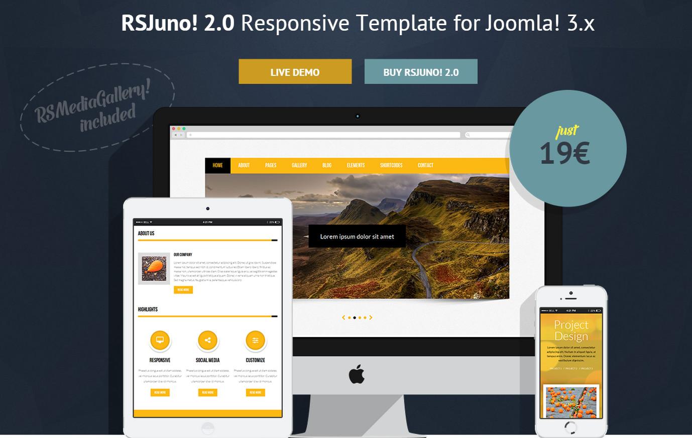 RSJuno! 2.0 – responsive template for Joomla CMS