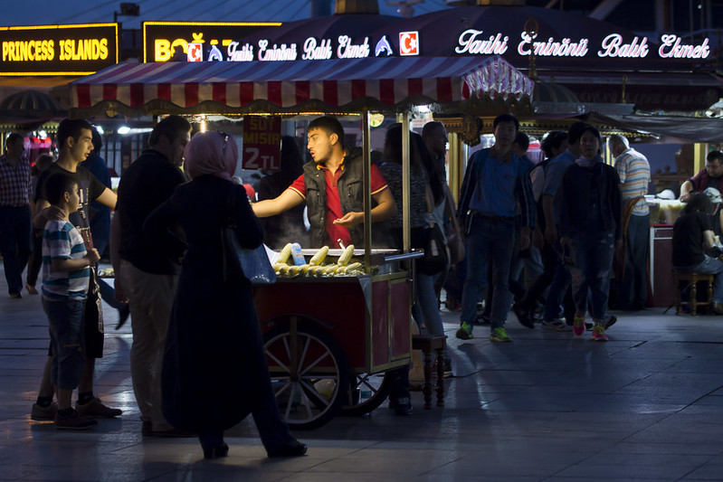 Street food served at the Galata Bridge