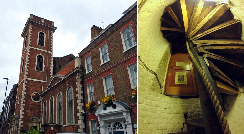Torre de la iglesia de Santo Tomás donde se encuentra el antiguo quirófano y escaleras de caracol que conducen a la misteriosa puerta de entrada